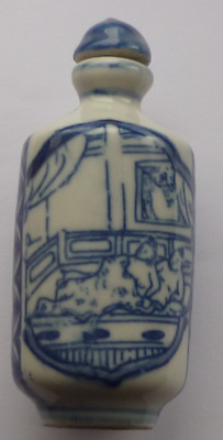 Chinese Blue & White Erotic Snuff Bottle