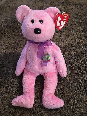 Ty Beanie Babies 2000 Eggs Pink Easter Teddy Bear  Tag Excellent Mint  PE