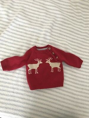 Baby Boden Reindeer Holiday Christmas Sweater 0-3 months
