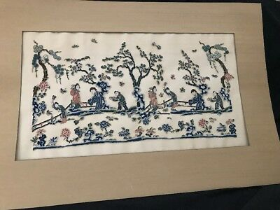 Chinese Asian Embroidery on Silk Picture Geisha