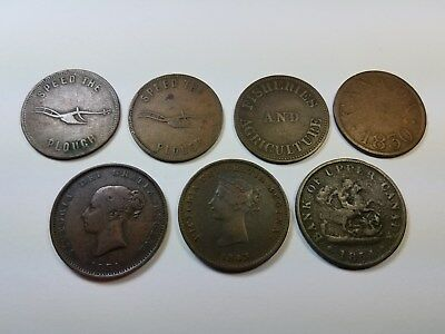 1843 & 1854 Half Penny New Brunswick Tokens, Plus 5 Others. Free Shipping in US!