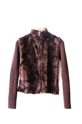edle Nerz Wolle Jacke Pelz Fell Pullover Chantal Italy S M Designer Luxus SALE