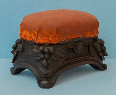 Beautiful Large Antique Victorian Wooden Carved Walnut Black Forest Pin Cushion