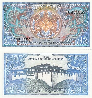 Bhutan 1 Ngultrum (1994) - Dragons/Palace/p12 UNC