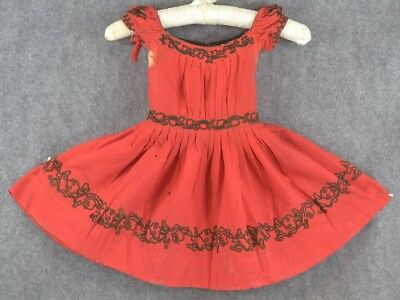 dress girls 1850 pre Civil War red wool black trim rough study antique original