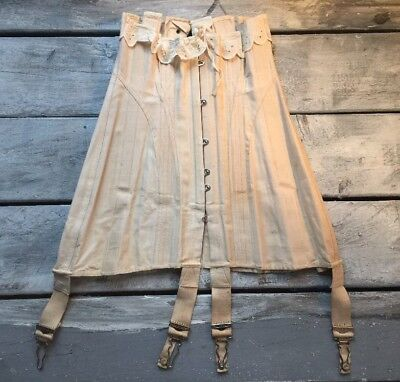 Antique Teens Corset W.T. Sta-Bone 1917 Lace Up Cotton Embroidered Lace Boned