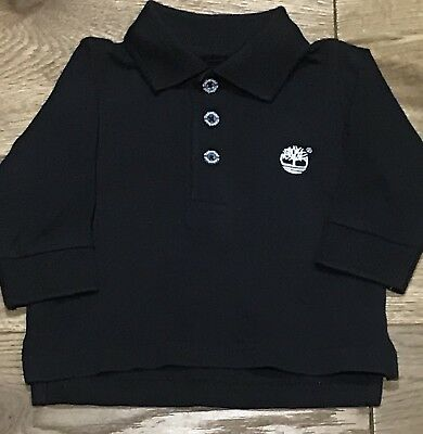 Baby Boys Genuine Timberland Long Sleeved Polo Shirt In Dark Grey Size 3 Months