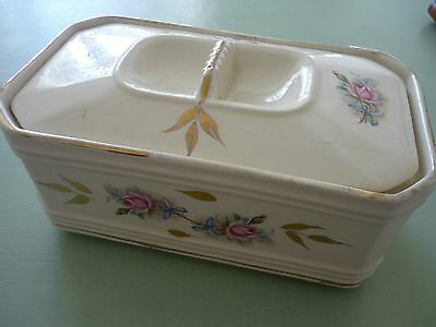 Vintage/Retro Sadler  China Butter Dish with Floral Design