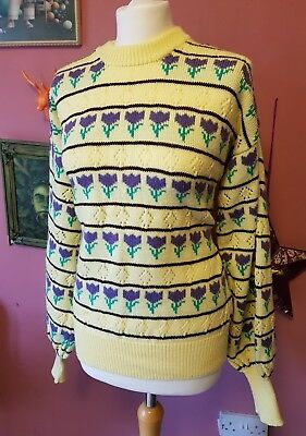 Vintage womens 70s hand knit yellow and purple flower big sleeve jumper