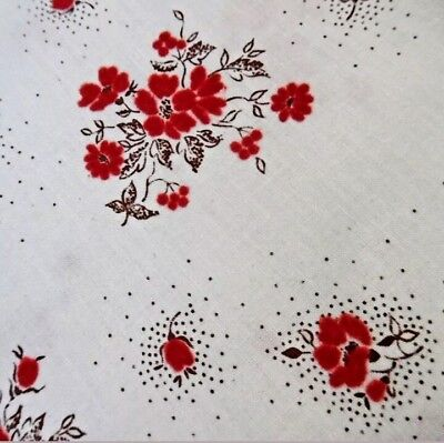 Vintage French Cotton Flocked Velvet Floral Red Rose Fabric Christmas Doll Quilt