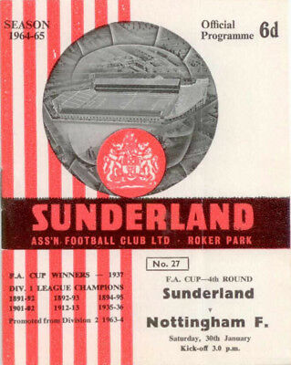 1964-65 Sunderland v Nottingham Forest FA Cup 4th Fourth Round
