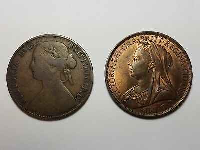 1860 & 1897 Great Britain Pennies British Penny, Coins. Free shipping in US!