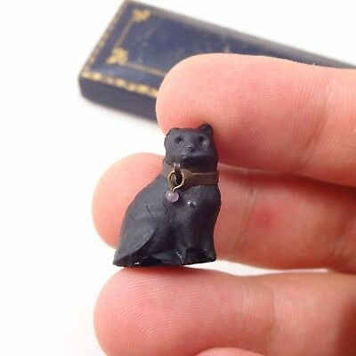 Antique Art Deco Jewellery Czech Glass Black Cat Christmas Cracker Charm Pendant