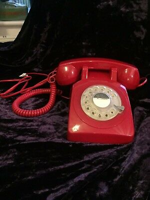 Retro Traditional Red Telephone Model Ptx 1970 Rotary Dial Fully Working Protelx