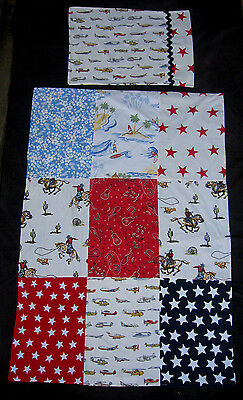 Boys Cot / Toddler Bed 100% Cotton Retro Western Quilt Cover & Pillowcase Set