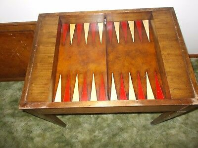 Antique Vintage Baker Furniture Co Flip top Table with Backgammon Game Board