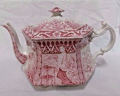 AJ Wilkinson Ltd red & white transfer ware teapot 1898-99 tea pot oriental lady