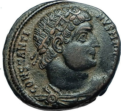 CONSTANTINE I the GREAT 330AD Authentic Ancient Roman Coin w SOLDIERS i66006