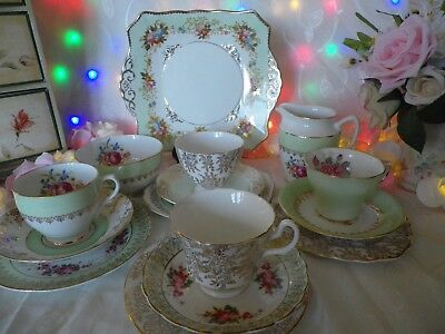 Lovely Vintage 15 Piece Mismatched Tea set, Green & Gold, Good Condition (a)