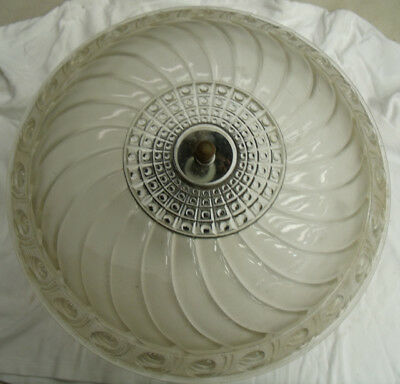 Antique Vintage Frosted Glass Prismatic Ceiling Light Fixture 14""