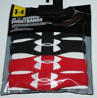 "2 Pair Under Armour UA Performance Red/Black/White UA ½"" Oversized Wristbands  *"