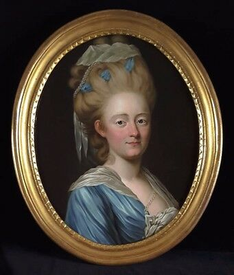 Fine 18th Century Oil Portrait of Young Lady Rococo Antique Oil Painting Roslin