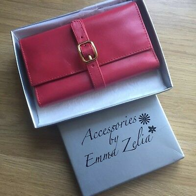 Jewellery Roll By EMMA ZELIA. Real red leather.Travel.Rings, necklaces, earrings