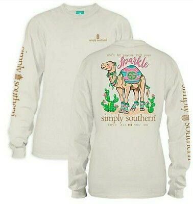 Simply Southern T SHIRT Don't Let Anyone Dull Your Sparkle Camel  MEDIUM - NWT