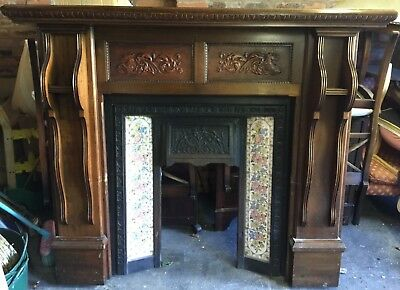 Victorian Style Tiled Cast Iron Fireplace And Solid Wood Surround