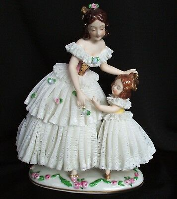 Antique German Volkstedt Dresden Porcelain Lace Victorian Lady Girl Figurine