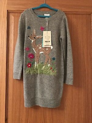 Brand new Monsoon grey knitted dress aged 5-6 years with deer. Beautiful gift.