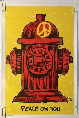 Peace On You Original Vintage Poster Fire Hydrant 1970s Joke Comedy Humor Satire