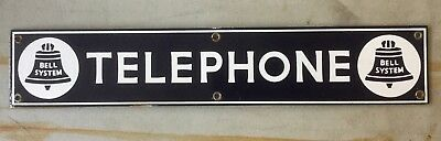 VINTAGE Original 1930s Porcelain Bell System Telephone Sign PAYPHONE PHONE BOOTH