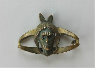 antique NATIVE AMERICAN INDIAN jewelry BROOCH PIN DIAMOND CHIP EYES missing pin