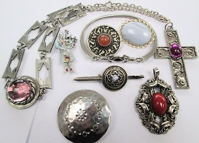Vintage silver metal & amethyst glass necklace + 5 brooches + 2 pendants + 1