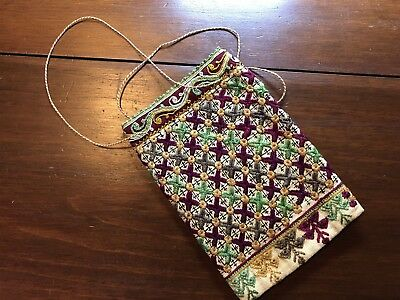 Antique or Vintage Finely Hand Embroidered Purse Bag