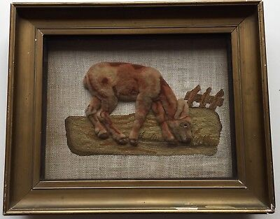 Unusual 19th c Antique  Plushwork Needlepoint  Picture Sampler of an animal.