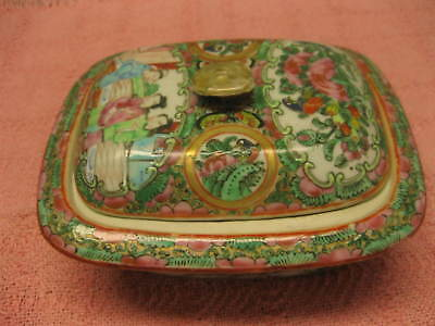ANTIQUE CHINESE EARLY 1800's ROSE MEDALLION COVERED BUTTER DISH 3 PIECE