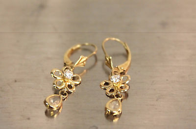 10K Yellow Gold Flower & Clear Stone Hanging Jewelry Earrings.