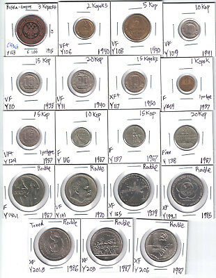Russia, Lot of 19 Different Circulated Coins, Carded & Identified 1915-87