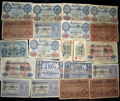 1914 1918 Germany WWI World War 1 Collection Vintage Antique Banknotes Old Money