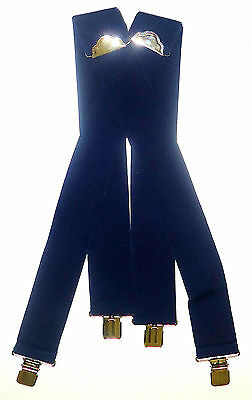 "2"" Mens, Women's Navy Blue (No Patch)  42"" Suspenders. SF, Elastic"