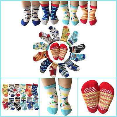 6 Pairs 12-36 Months Baby Toddler Socks Anti Slip Skid with Grip Assorted Colors