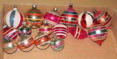VTG ANTIQUE GLASS mixed lot of all Striped CHRISTMAS TREE ORNAMENTS Round Oblong