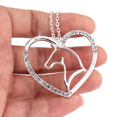 Horse & Western Jewellery Jewelry Ladies Sparkling Horse Heart Necklace Silver