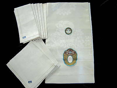 Antique VTG Czech Damask Linen Tablecloth & 12 Napkins 60 x 90 Unused w/ Labels