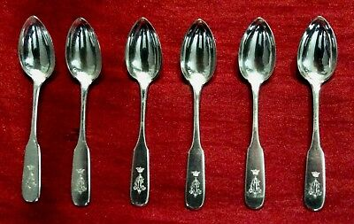 A set of 6 Imperial Russian silver demitasse spoons 'kokoshnik' mark for 1908-17