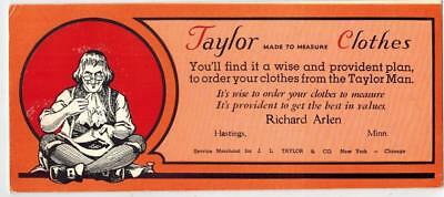 Vintage Ink Blotter Taylor Clothes Sold By Richard Arlen Hastings Minnesota