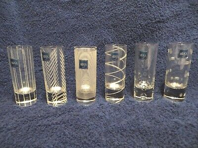 Set of 6 Mikasa CHEERS Crystal Etched 2 oz. Shot Glasses  NEW
