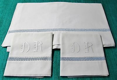 Antique European Sheet & Pillow Case Set N R Monograms Blue Tatted Trim